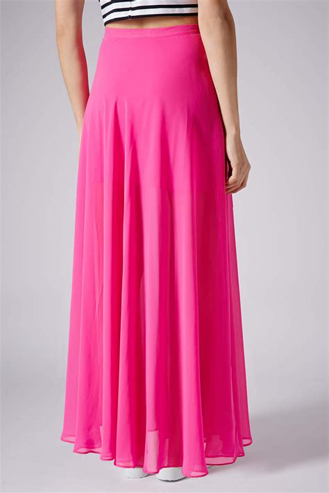 topshop pink chiffon maxi skirt in pink lyst