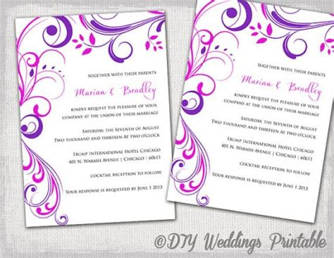wedding invitation editing templates wedding invitation templates purple and pink quot scroll