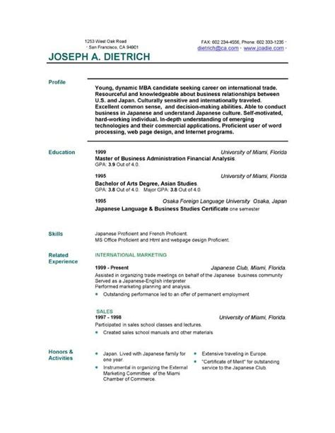 Sle Resume Outline by Simple Resume Outline Free 28 Images Simple Sle Resume Templates Simple Resume Template Cv