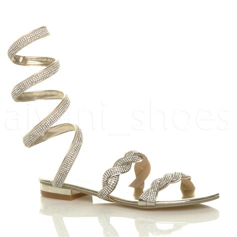 sandals with straps around the ankle womens low heel sparkly diamante wrap around ankle