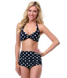 Polka Dot Kitchen Accessories - best seller vintage inspired swimsuit 1950s style black polka dot two piece swimsuit unique