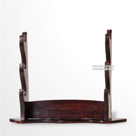 sword display stand brown solid wood three tiers samurai katana table top