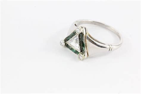 deco emerald trillion cut platinum