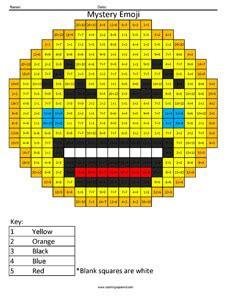 emoji multiplication  division coloring squared