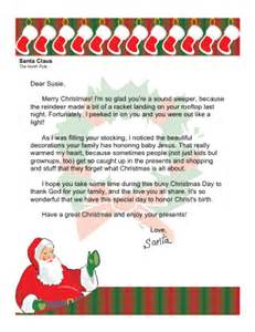 Christmas morning letter from santa with religious theme christian