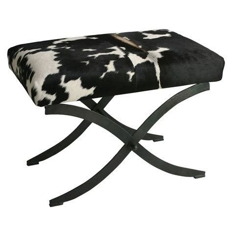 black x bench hugo iron black white hide contemporary x base bench kathy kuo home