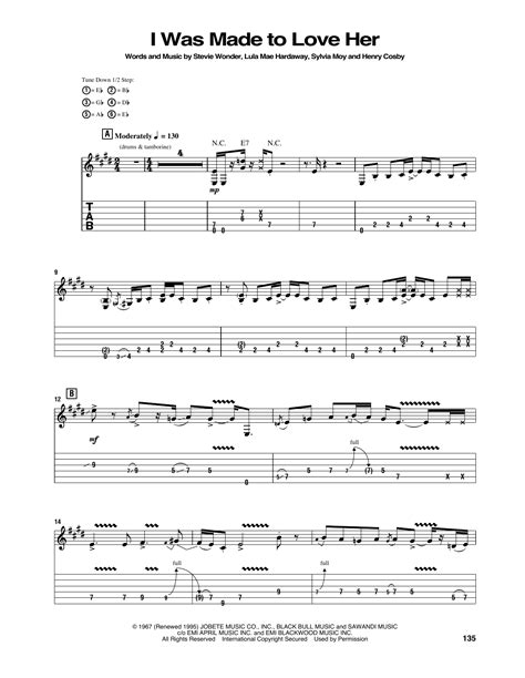 I Was Made To Love Her Sheet Music | Jimi Hendrix | Guitar Tab