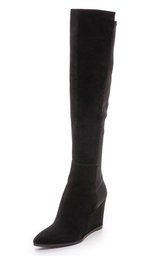 stuart weitzman demivoom wedge stretch boots black in