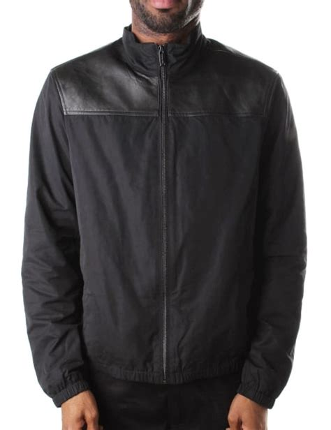 57148 Blouse Pocket michael kors s leather mix jacket black