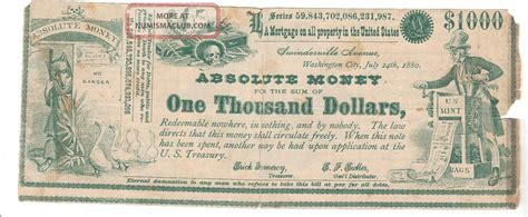 Money And Politics Essay by 1880 Political Absolute Money One Thousand Dollars Redeemable Nowhere