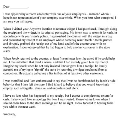Complaint Letter About Bad Service With Exle Free Printable Complaint Letters