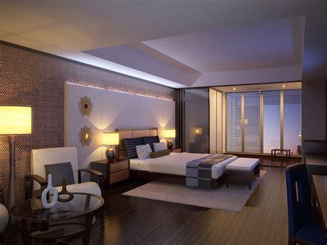 modern hotel bedroom interior scene modern hotel room 3d max