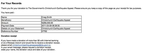 receipt template nz donations