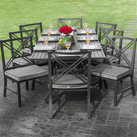 Audubon 8 Person Aluminum Patio Dining Set With 6 Side 6 Chair Patio Dining Set