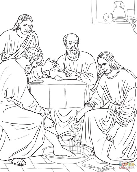 printable coloring pages of jesus and his disciples jesus washing the disciples coloring page free