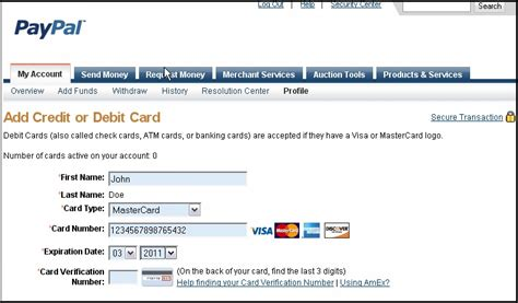 Sle Credit Card Number With Name Steps To Add Your Credit Card To Your Paypal Account