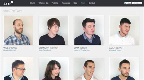 50 web layouts for showcasing company teams employees