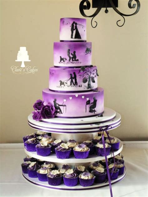 Wedding Cakes With Photos On Them by Story Wedding Cake Purple Cake By Clare S Cakes