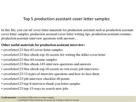cover letter for production assistant top 5 production assistant cover letter sles