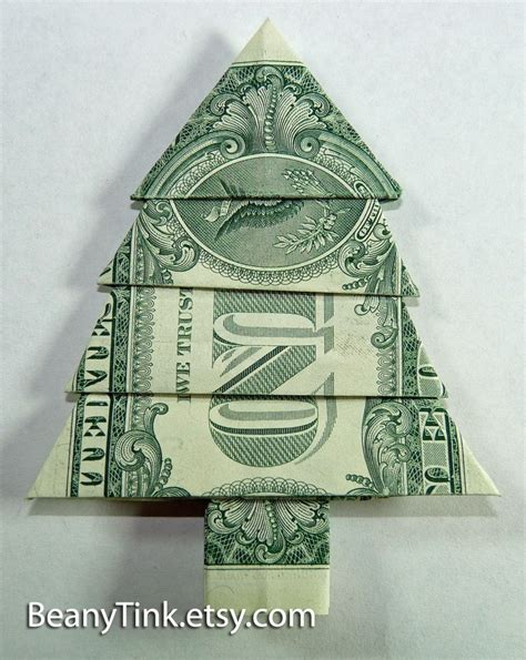 origami money christmas dollar origami pine tree by beanytink on etsy