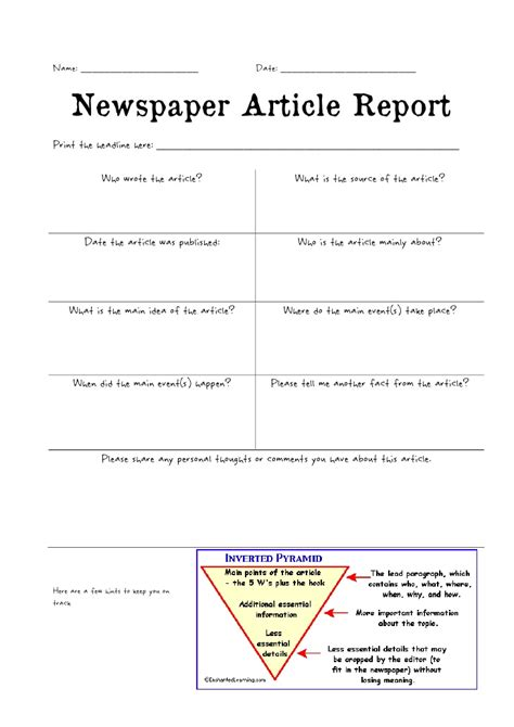 newspaper article review template newspaper article report