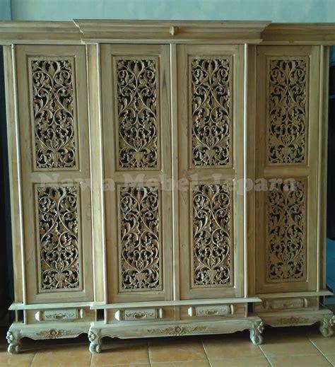 Almari Jati 4 Pintu almari pakaian 4 pintu ukir terbaru jual meja dan kursi