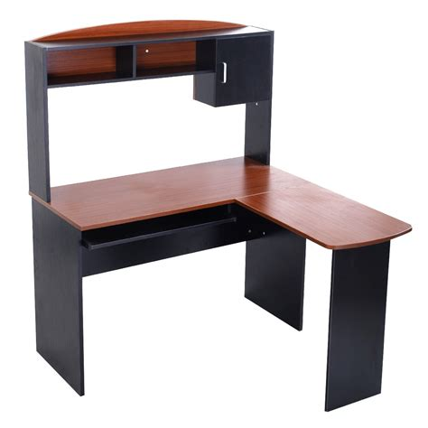 L Shaped Desk With Shelves Corner Computer Desk With Shelves L Shaped Storage Office Table Pull Out Shelf Desks