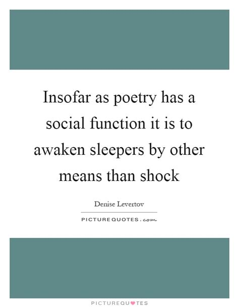 insofar as poetry has a social function it is to awaken