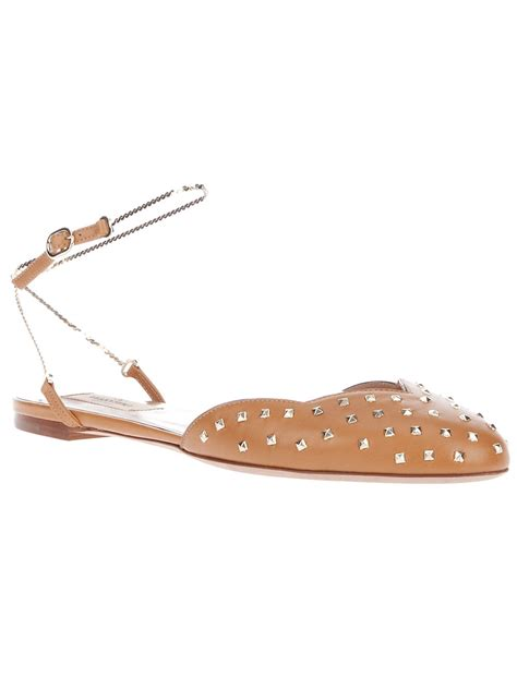 studded flats shoes valentino studded flat shoe in brown lyst
