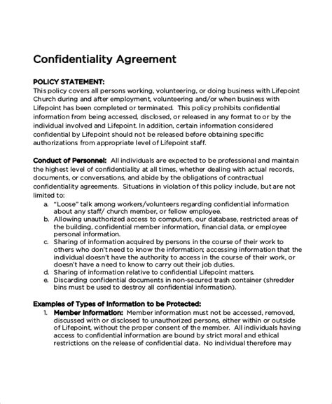 confidentiality policy template church confidentiality agreement 9 free word pdf