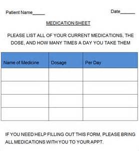 medication list template patient medication list template sle patient