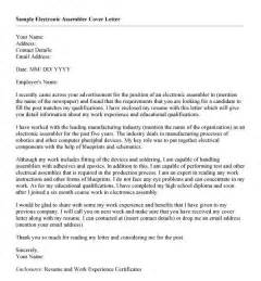 electronic cover letter sle cover letter sle for work experience