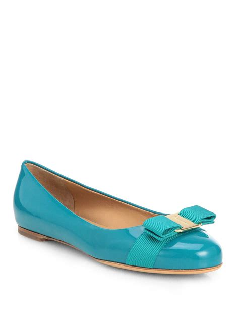 turquoise flat shoes ferragamo varina patent ballet flats in blue turquoise