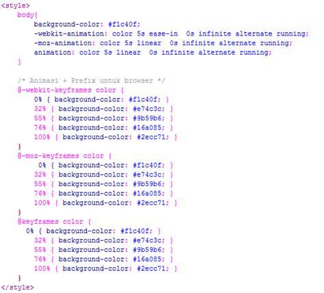 membuat link berubah warna css membuat animasi background berubah warna kursus web design
