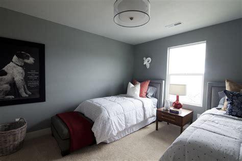 Brewster Gray Dining Room Upholstered Headboard Transitional Boy S Room