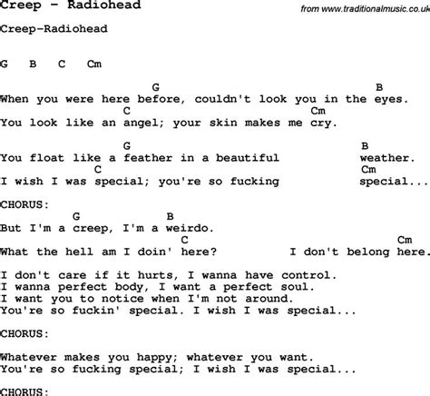 lyrics creeper song by radiohead with lyrics for vocal performance