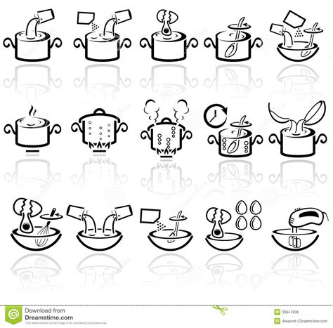 Step 2 Kitchens by Cooking Instruction Vector Icons Set Eps 10 Royalty Free