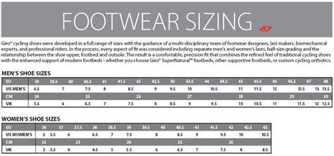 bike shoes size chart giro 2015 territory mountain bike shoe black buy