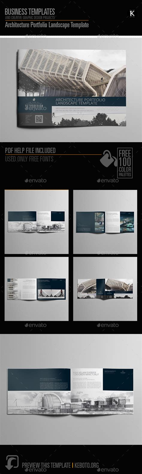Architecture Portfolio Landscape Template By Keboto Graphicriver Architecture Portfolio Layout Templates