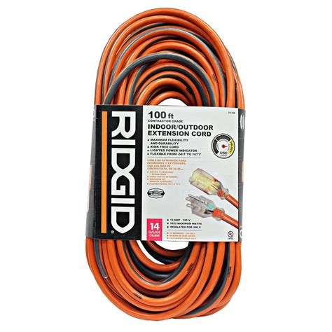 100 ft 14 outdoor extension cord ridgid 100 ft 14 3 outdoor extension cord 657 143100rl6a