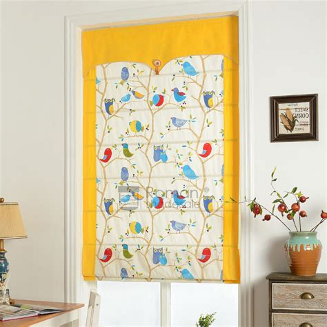 yellow pattern roman shade yellow bird patterned custom fresh roman shades