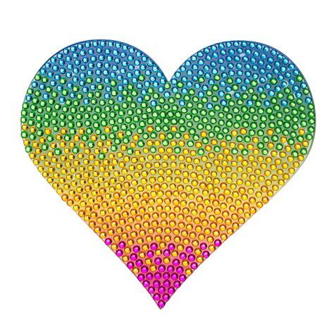 Jumbo Wall Stickers 5 inch rainbow heart sticker rhinestone stickers