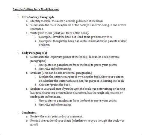 how to write an outline for a book report book outline template 6 free sle exle format