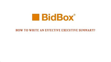how to write an effective executive summary tutorial