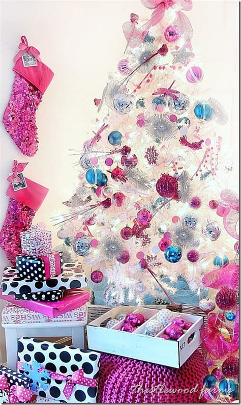 personalized christmas stocking and a pink a palooza tree