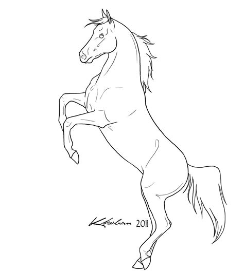 coloring pages of horses rearing rearing lineart by kholran on deviantart