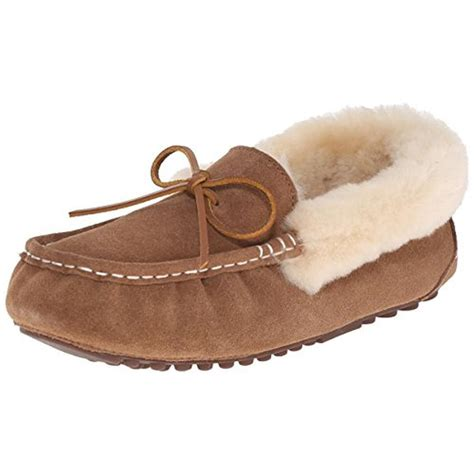 moccasin slippers pajar 1532 womens india suede faux fur lined moccasin