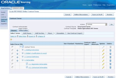 Oracle Supplier Management User S Guide Contract Deliverables Template
