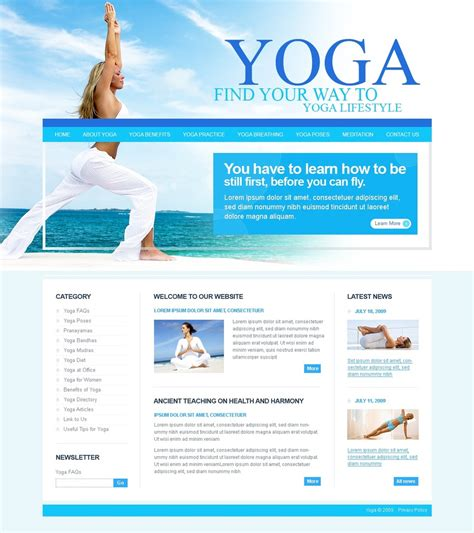 templates for yoga yoga website template 25227