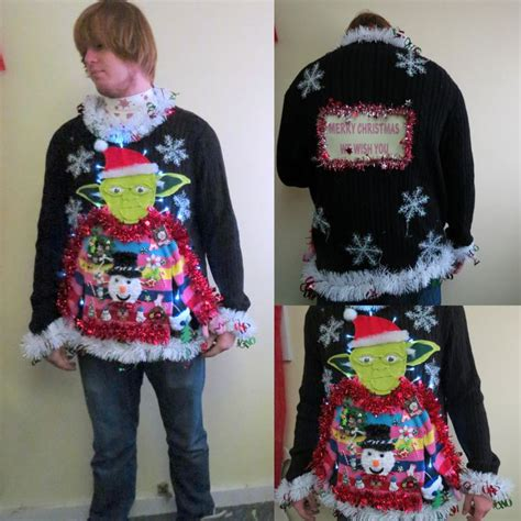 mens light up ugly christmas sweater hysterical yoda wearing ugly christmas sweater star wars